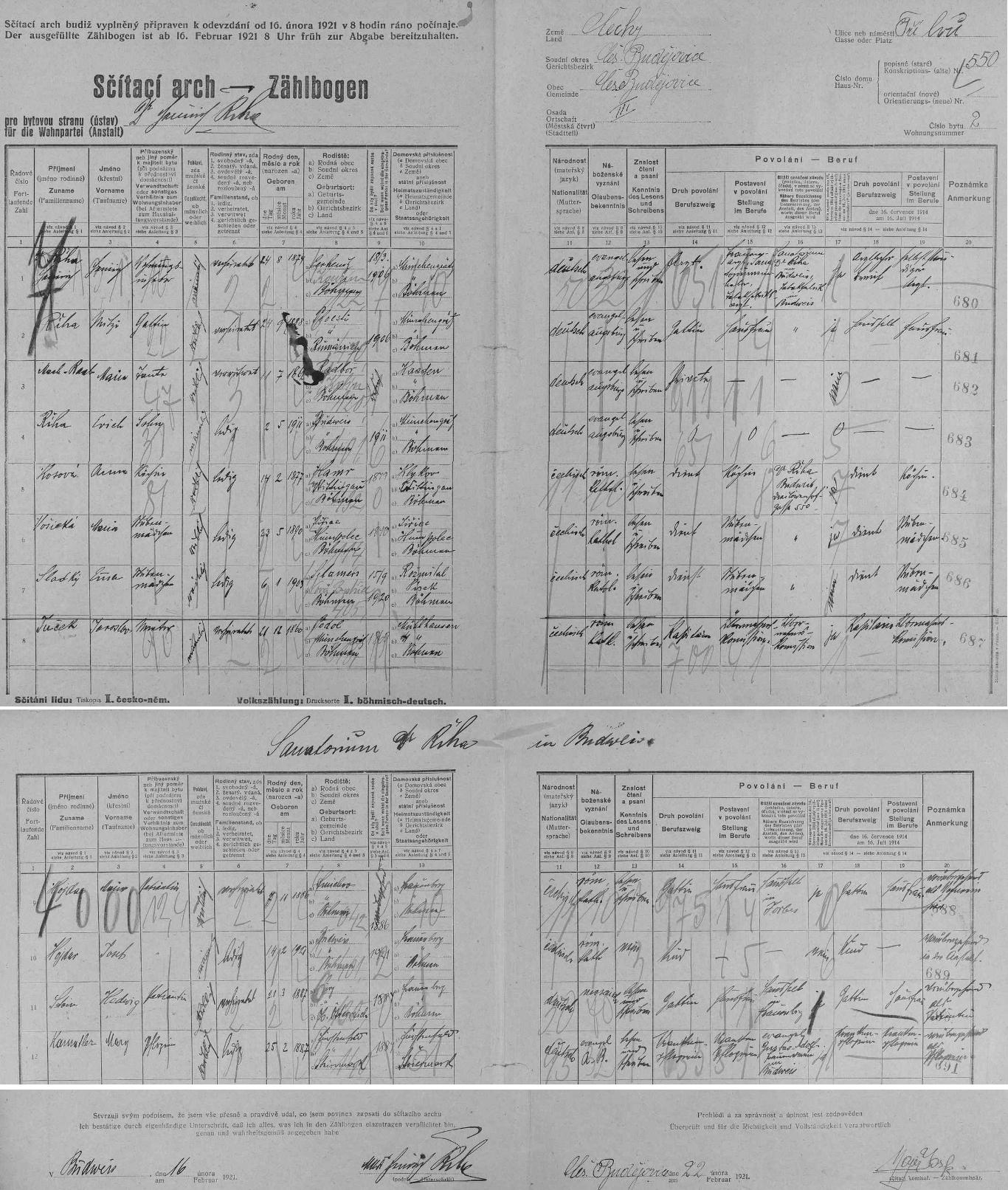 Arch sčítání lidu z roku 1921 pro dům čp. 550 v českobudějovické ulici U Tří lvů