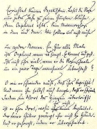 Rukopis jednoho ze Sonetů Orfeovi