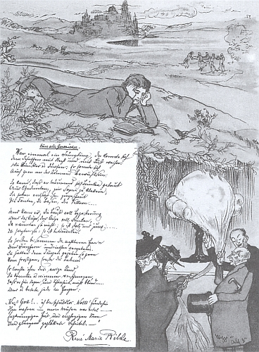 """Kresba Emila Orlika k rukopisu mladistvé Rilkeovy básně """"Starý příběh"""""""