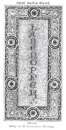 """Obálka (1896) prvního vydání jeho básnické sbírky """"Obětiny lárům"""" (tj. """"domácím bůžkům"""")"""