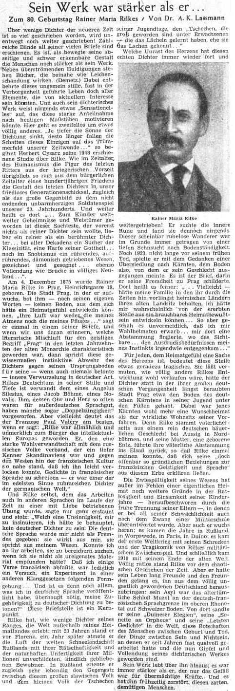 """Jeho nedožitých osmdesátin vzpomněl v prosinci 1955 ústřední list vyhnaných krajanů článkem, všímajícím si zejména jeho """"evropanství"""""""