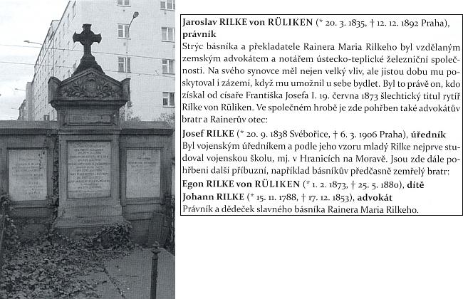 Hrob Rilkeova otce Josefa a strýce Jaroslava, bratra Egona a dědečka Johanna na Olšanských hřbitovech v Praze