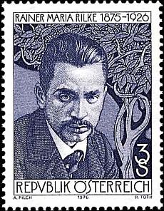 Na rakouské poštovní známce z roku 1976, vydané k50. výročí básníkova úmrtí