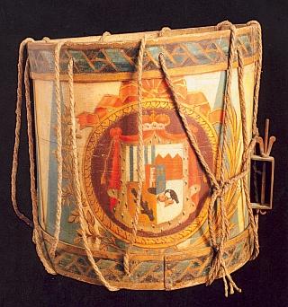 Buben z 18. století s malbou schwarzenberského znaku