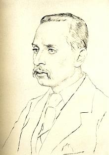 Na portrétní kresbě Emila Orlika