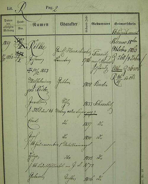 Dědova pražská policejní přihláška (jeho rodné Trmice jsou psány německy chybně Türnitz namísto Türmitz) s daty jeho ženy Wilheminy, roz. Reiterové, mezi jeho dětmi pak i básníkova otce Josefa, narozeného ve Svébořicích (Schwabitz)