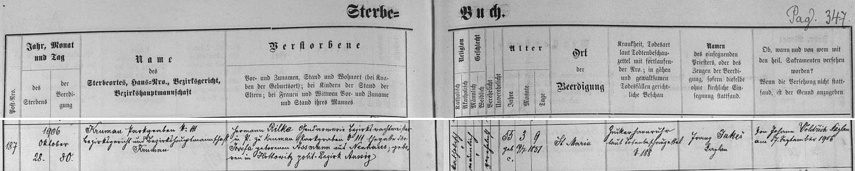 Záznam českokrumlovské úmrtní matriky o skonu policejního strážmistra Hermanna Rilkeho na adrese Parkán čp. 111 28. října roku 1906 i s datem jeho narození ve dnes zaniklých Otovicích (Hottowitz), které byly osadou obce Trmice (Türmitz), rodiště Rainerova děda Johanna