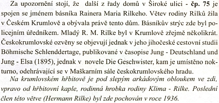 """O větvi Rilkeova rodu v Českém krumlově na stránkách """"esoterického"""" průvodce městem"""