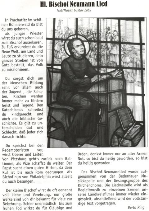 """Tady otiskla na stránkách krajanského měsíčníku text písně """"o svatém biskupu Neumannovi"""", za jejíhož autora (slov i hudby) označuje Gustava Zabyho"""