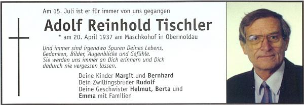 """Parte jejího bratra Adolfa, narozeného jako ona na statku """"Maschkohof"""" v Horní Vltavici"""