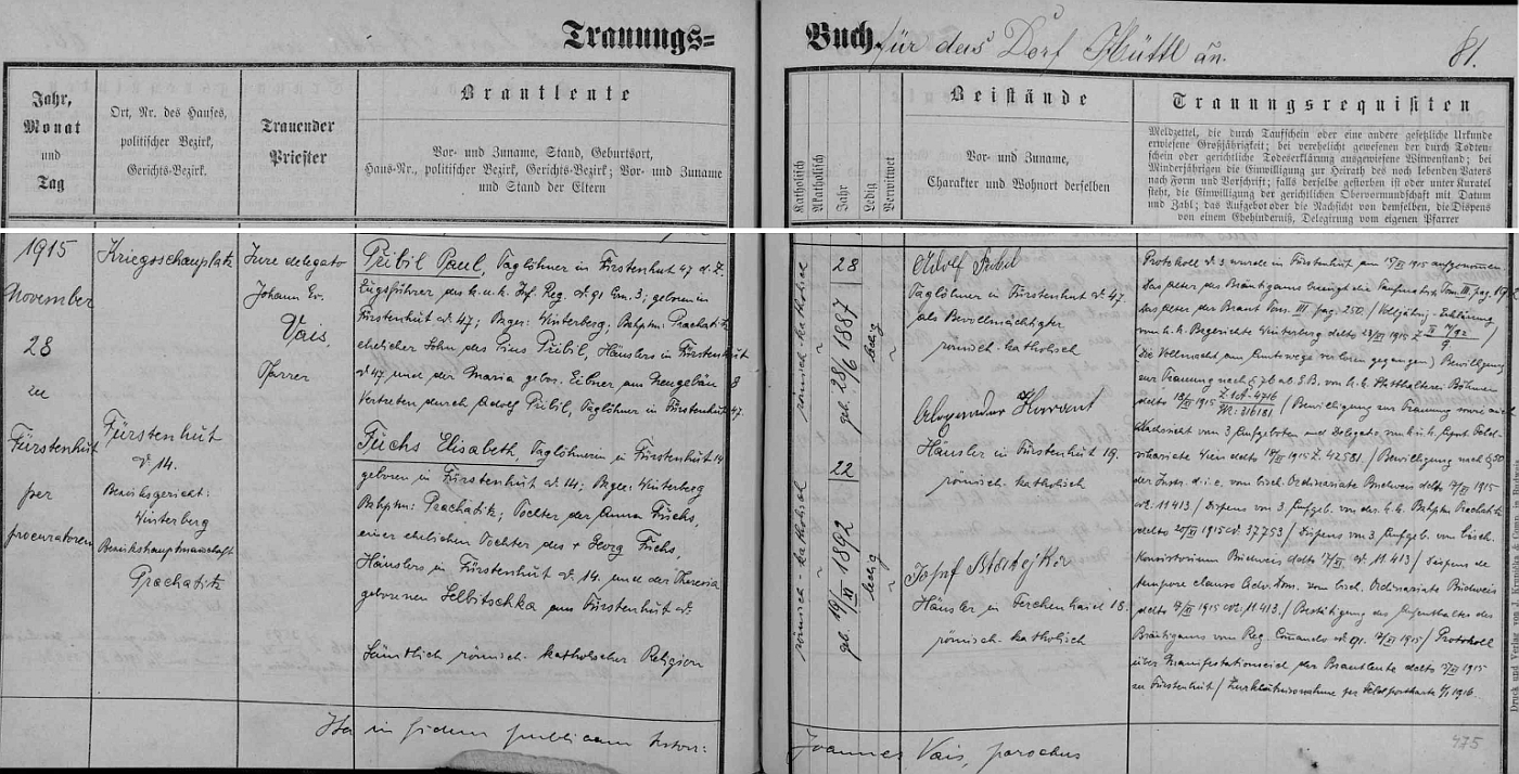 Záznam o svatbě jeho strýce Paula v knize oddaných farní obce Knížecí Pláně