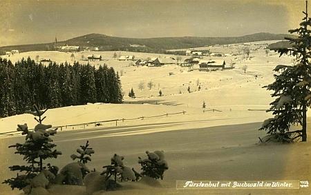 Knížecí Pláně s Bučinou na zimní fotografii Josefa Seidela z roku 1926...