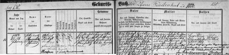 Záznam o narození otcově v křestní matrice farní obce Knížecí Pláně s přípisem o jeho pozdější svatbě a poznámkou o změně příjmení