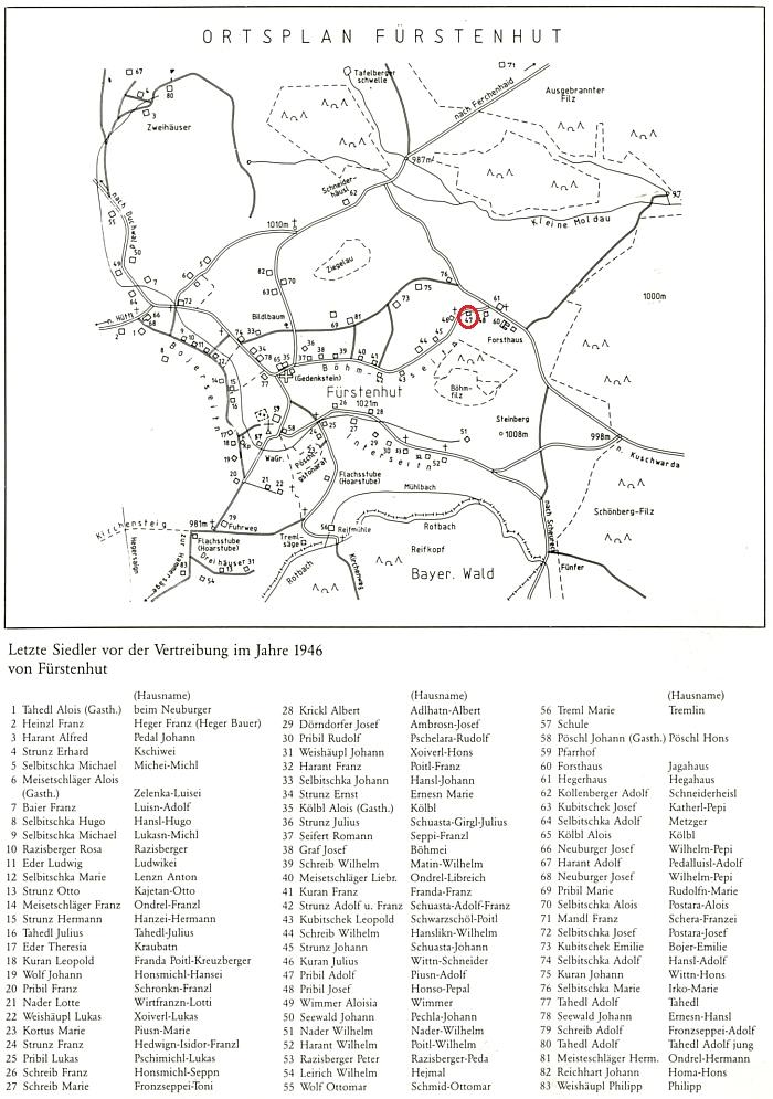 Stavení čp. 47 na plánku farní obce Fürstenhut se seznamem posledních majitelů jednotlivých stavení v roce 1945