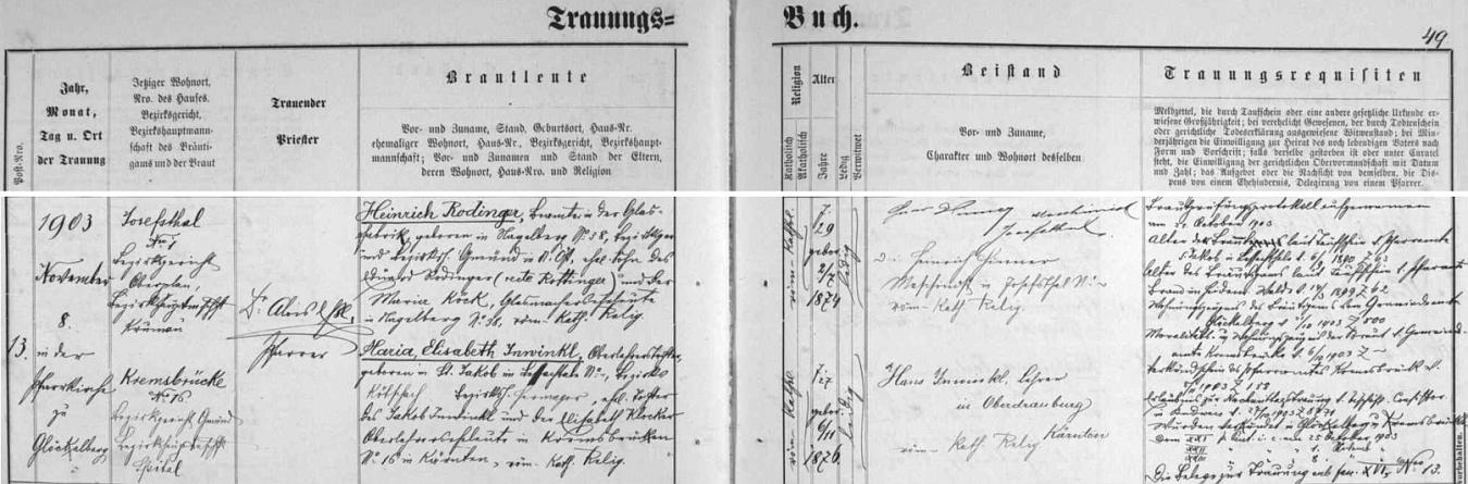 Záznam oddací matriky farní obce Glöckelberg o svatbě jeho rodičů: ženich Heinrich Rodinger, narozený v Nagelbergu, okres Gmünd, byl synem Eduarda Rodingera (správně by podle zápisu mělo příjmení znít Rottinger!) a Marie, roz. Köckové, obou zaměstnaných v nagelberské sklárně, nevěsta Maria Elisabeth Inwinklová, narozená v Sankt Jakob vKorutanech, byla dcerou učitele Jakoba Inwikla a jeho manželky Elisabeth, roz. Klocknerové