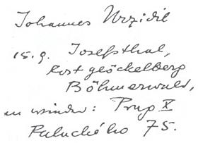 """Záhlaví Urzidilova dopisu adresovaného archivu Goethova národního muzea ve Výmaru dosvědčuje, že se do poloviny září zdržoval v Rodingerových domě v Josefodole, kde pracoval na své knize """"Goethe in Böhmen"""" a až poté opět na své pražské adrese"""