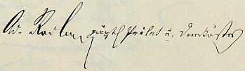 Podpis v pamětní knize českobudějovického německého gymnázia z roku 1903