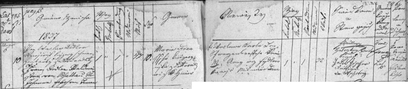 Záznam oddací matriky farní obce Křtěnov o zdejší svatbě Václava Rodlera s Marií, roz. Lepší, dne 6. února 1837