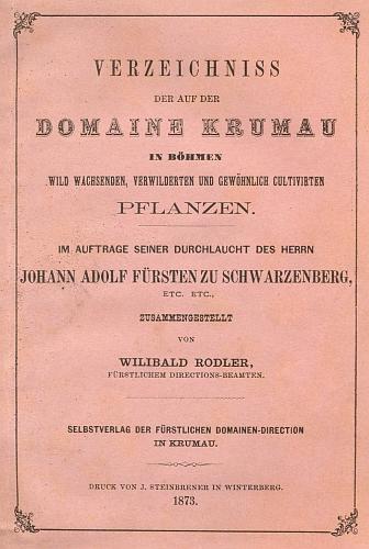 Obálka (1873) jeho knihy, vimperského Steinbrenerova tisku