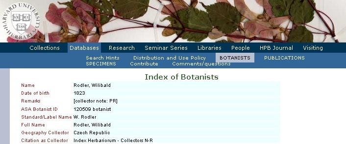 Záznam na webovém indexu botaniků Harvard University Herbaria