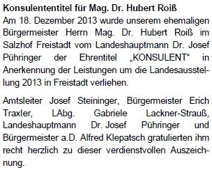 Zpráva o udělení titulu v informačním listu obce Windhaag
