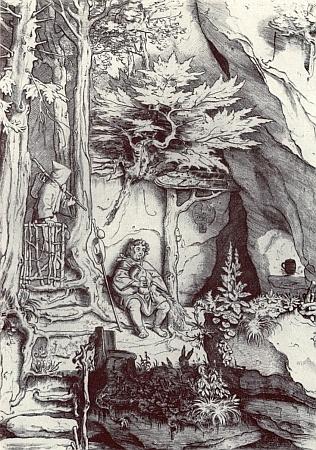 """Jedna z lesních, možná i šumavských inspirací Moritze von Schwinda na jeho kresbě s názvem """"Dudák"""""""