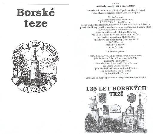"""Dvě viněty na titulním listu sborníku """"Borské teze"""" ze stejnojmenného semináře ke 125. výročí jejich podepsání"""