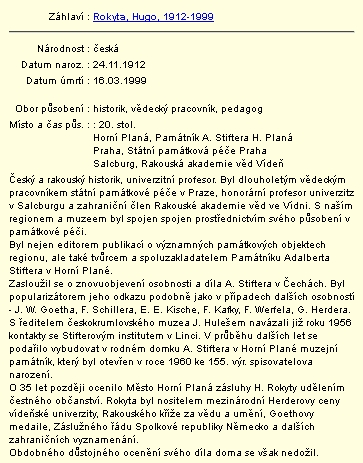 Záznam v databázi regionálních osobností Městské knihovny v Českém Krumlově s jeho jménem