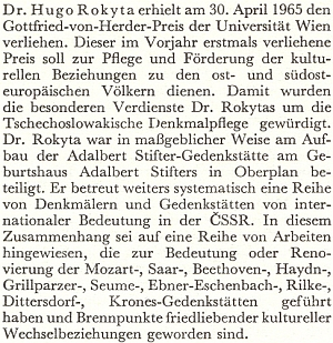 Zpráva o udělení Herderovy ceny vídeňské univerzity v dubnu roku 1965
