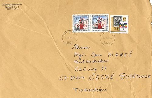 Obálky dopisu Dr. Erharda Koppensteinera s texty o Rokytovi, zaslaný ze Salcburku do Českých Budějovic v roce 2000