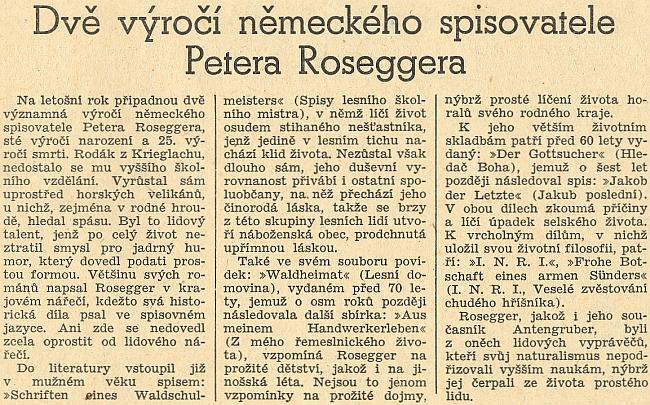 Takto vzpomněl protektorátní list Jihočeská jednota dvou spisovatelových výročí v roce 1943 nepodepsaným článkem