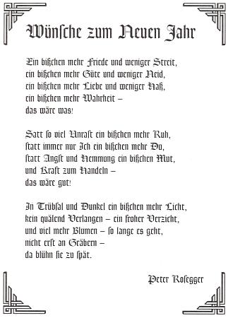 Jeho verše s přáními do Nového roku uveřejnil čtvrtletník Der Bayerwald na 1. straně svého prvého čísla v 21. století