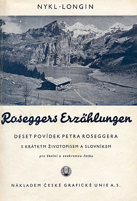 """Obálka výboru z Roseggerových povídek, které roku 1941 vyšly """"pro školní a soukromou četbu"""""""