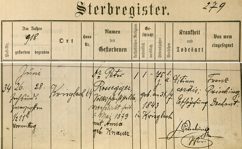 Záznam o jeho úmrtí v knize zemřelých farní obce Krieglach