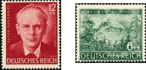 Dvě německé známky z doby druhé světové války k jeho památce