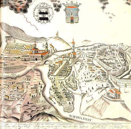 Strakonice na kolorované kresbě z poslední třetiny 18. století