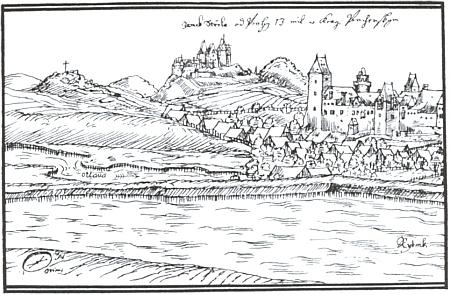 Strakonice na vedutě Jana Willenbergera (také Willenberga /1571-1613/), v pozadí se zámkem Střela