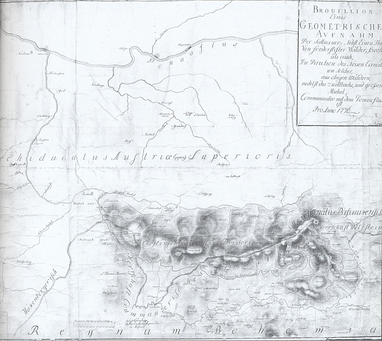 Obzvláštní raritou je tento jeho prvý návrh (=Brouillon) plavebního kanálu z roku 1776