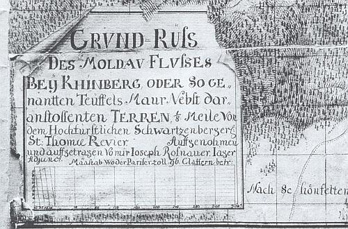 """Záhlaví mapy zachycující úsek Vltavy u Loučovic zvaný Čertova stěna anesoucí jeho vlastní označení """"von mir Ioseph Rosnauer Iäger Adjunct"""", tedy pořízené s mapou někdy mezi roky 1759 a 1769"""