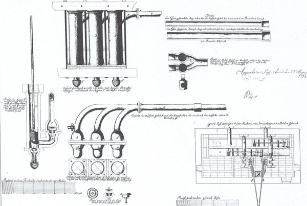 Rosenauerův projekt vodní pumpy pro zámek Hluboká nad Vltavou, poháněné mlýnskými koly, byl přijat ve Vídni roku 1774