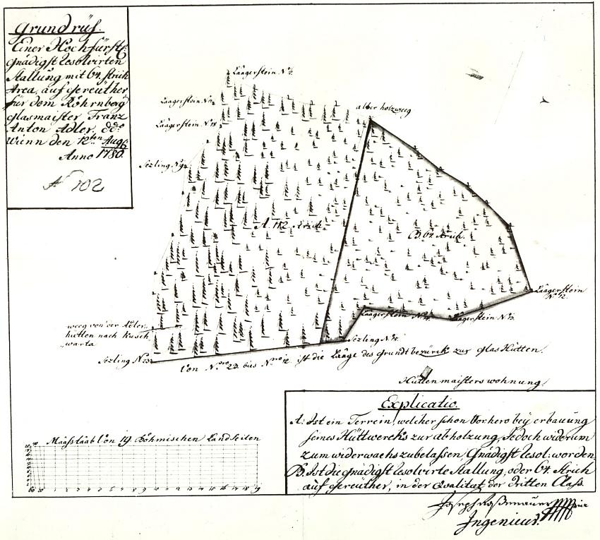 Mapka lesa pro skláře Franze Antona Adlera z roku 1780, kterou nakreslil a podepsal