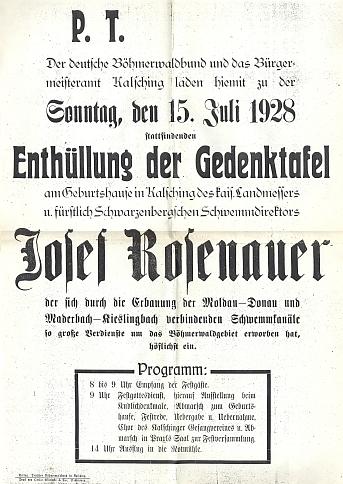 Pozvánka k odhalení pamětní desky na rodném domě  v červenci 1928 (viz i Wladimir Sazyma)
