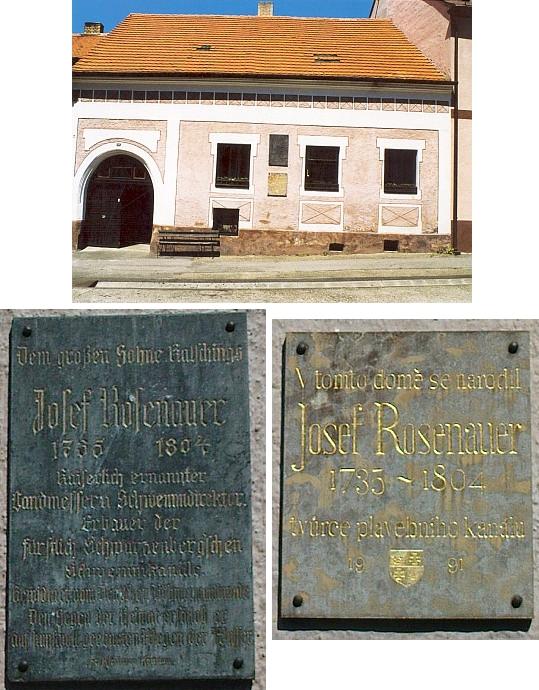 Rosenauerův rodný dům čp. 18 ve Chvalšinách má na sobě dvě pamětní desky: jednu z roku 1928, tu druhou z roku 1991