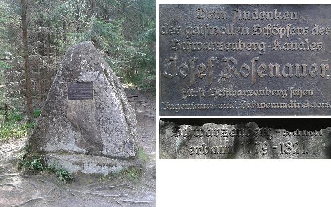 Rosenauerův pomník u Schwarzenberského plavebního kanálu a desky na něm