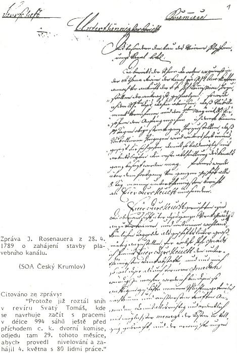 Zpráva Josefa Rosenauera z 28. dubna roku 1789 o zahájení stavby plavebního kanálu