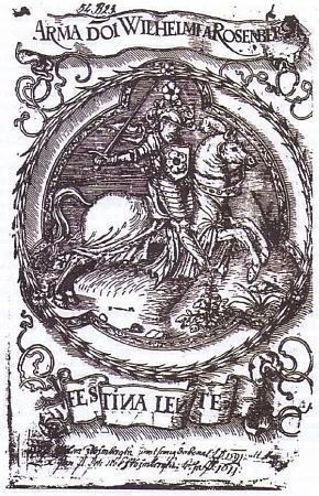 """Exlibris Viléma z Rožmberk s jeho heslem """"Festina lente"""""""