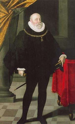 Jako stárnoucí velmož s Řádem Zlatého rouna na olejomalbě zroku 1589