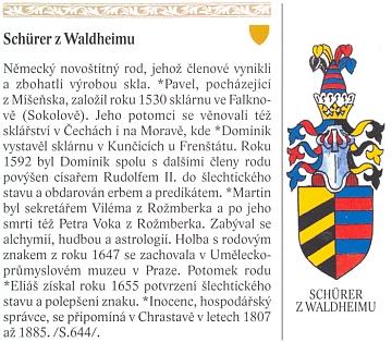 O rodu Schürerových z Waldheimu s vyobrazením rodového erbu