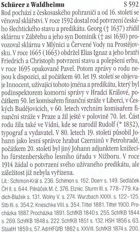 Tento odstavec k rodové historii Schürerů zmiňuje i českobudějovické působení jednoho znich