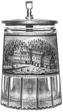 Rosenberger Gut, kde psal Stifter svého Vítka, jako motiv sklomalby na holbě (ze sbírky Ludwiga Rosenbergera)
